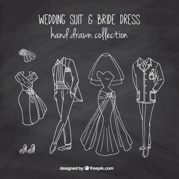 Desenhado mão terno do casamento e vestido brid em vigor quadro Vetor grátis