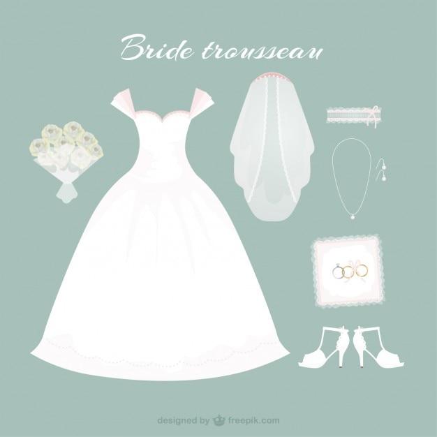 Desenhado mão vestido de noiva com acessórios bonitos Vetor grátis