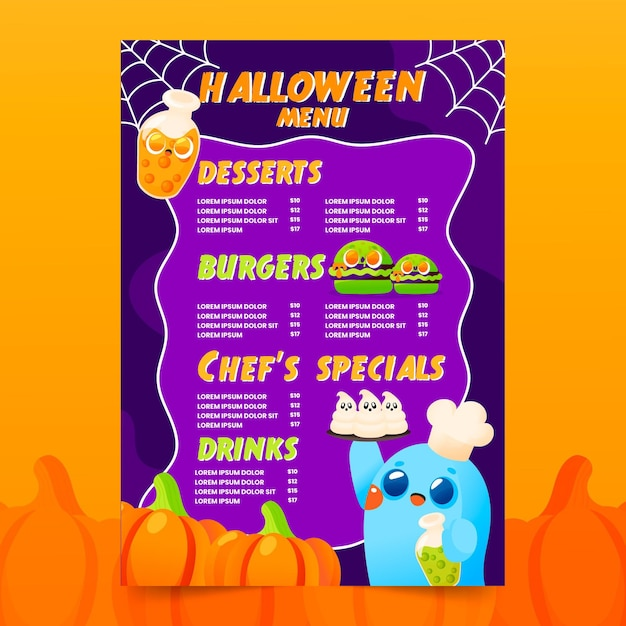 Desenhado modelo de menu de halloween com ilustrações Vetor grátis