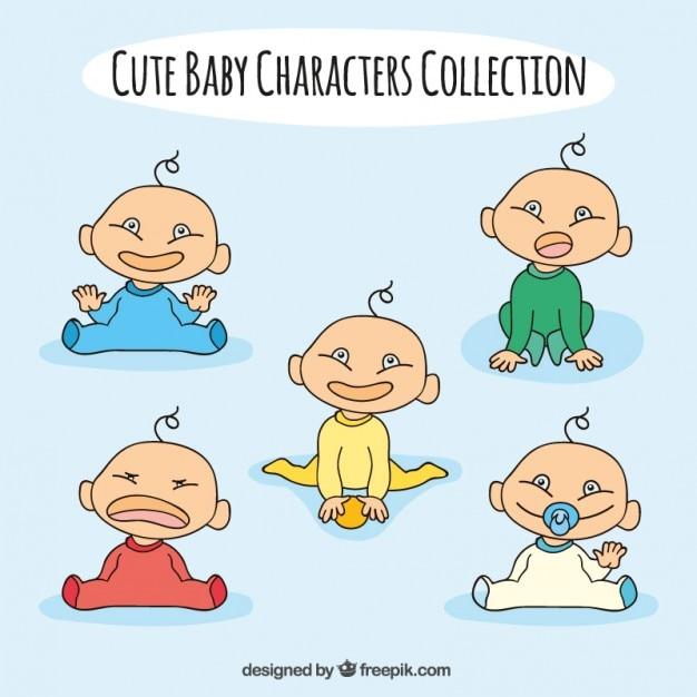 Desenhados Mão Adoráveis Bebês Com Diferentes Poses Baixar