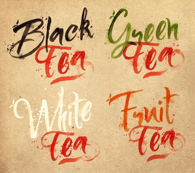 Desenhados nomes de diferentes tipos de chá, preto, verde, branco, gotas de chá em papel kraft Vetor Premium