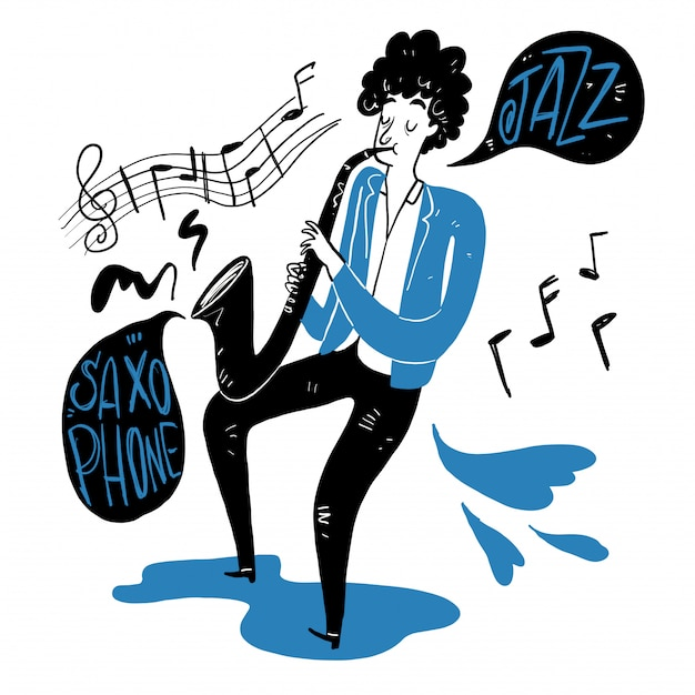 Desenhando um homem soprando saxofone. Vetor Premium