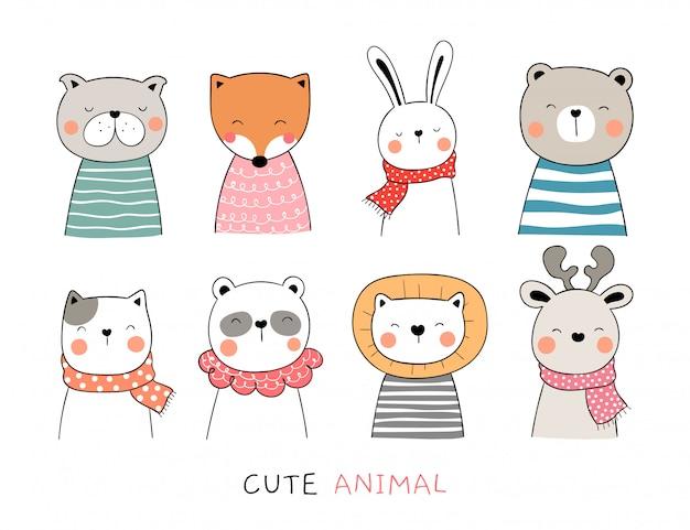 Desenhar animal bonito de coleção em branco. Vetor Premium