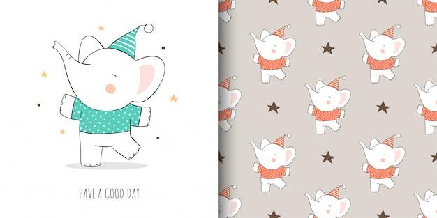 Desenhar cartão e imprimir padrão elefante para crianças de tecidos têxteis. Vetor Premium