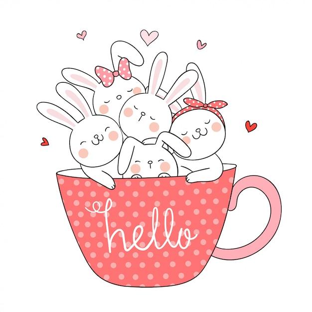 Desenhar coelho na xícara de café estilo doodle. Vetor Premium