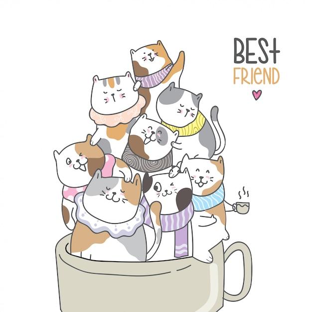 Desenhar, cute, car, em, beleza, xícara café Vetor Premium