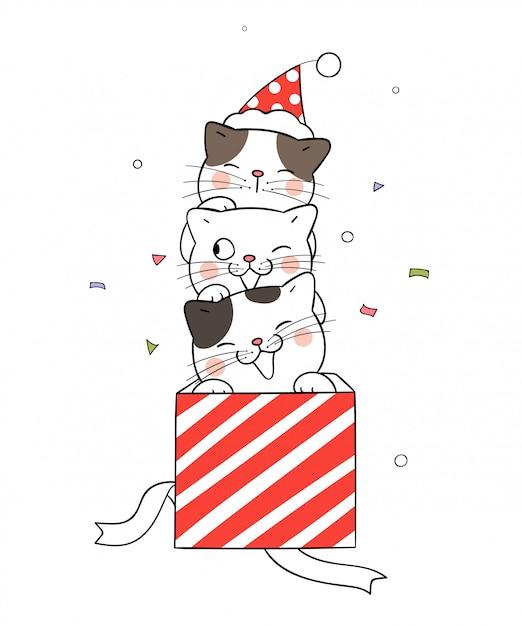 Desenhar gato na caixa de presente vermelha para o dia de natal Vetor Premium