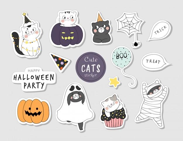 Desenhe adesivos de coleção de gato engraçado para o halloween. Vetor Premium