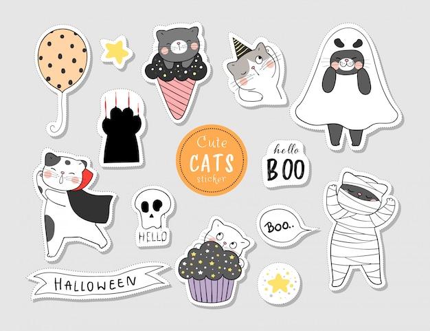 Desenhe adesivos de gato para o dia de halloween. Vetor Premium