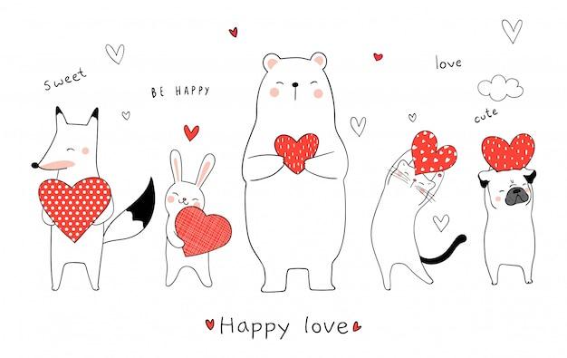 Desenhe animais fofos segurando coração vermelho para o dia dos namorados Vetor Premium