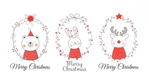 Desenhe animal em grinalda para o natal e ano novo. Vetor Premium