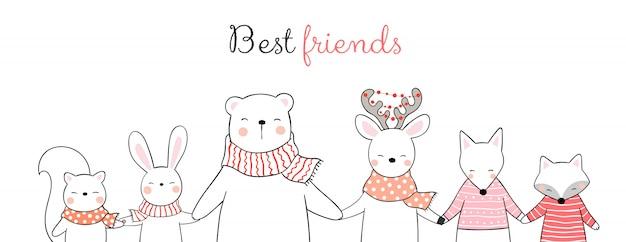 Desenhe animal feliz, segurando as mãos conceito de inverno. Vetor Premium