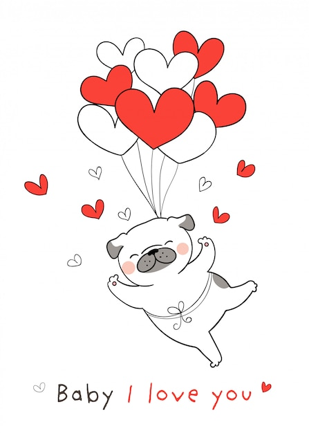 Desenhe cachorro pug com balão de coração vermelho para dia dos namorados. Vetor Premium