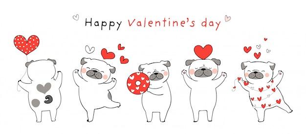 Desenhe cachorro pug com pequenos corações vermelhos para dia dos namorados. Vetor Premium