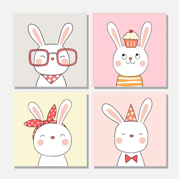 Desenhe coelho bonito para cartão e papel de parede. Vetor Premium