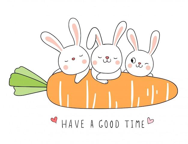 Desenhe coelho com laranja cenoura em branco. Vetor Premium