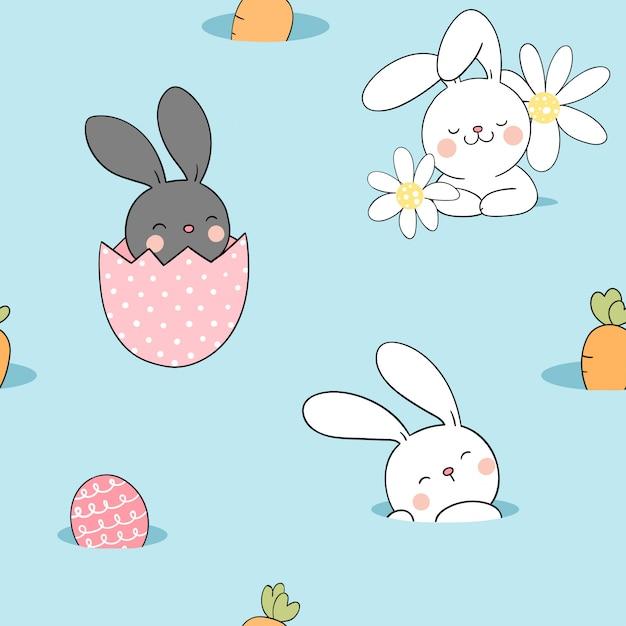 Desenhe coelho padrão sem emenda com ovo para a primavera de páscoa. Vetor Premium