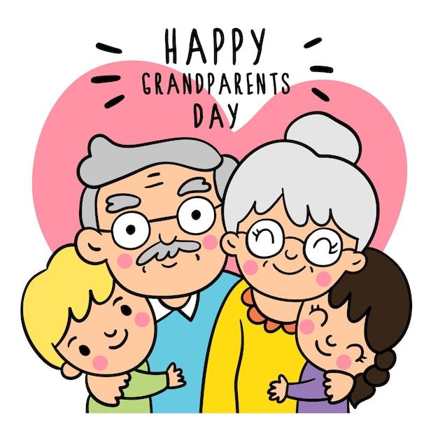 Desenhe estilos de garatujas do dia dos avós. Vetor Premium