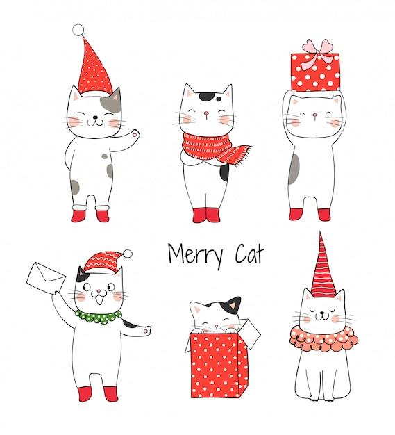 Desenhe gato bonito de coleção para o natal e ano novo. Vetor Premium