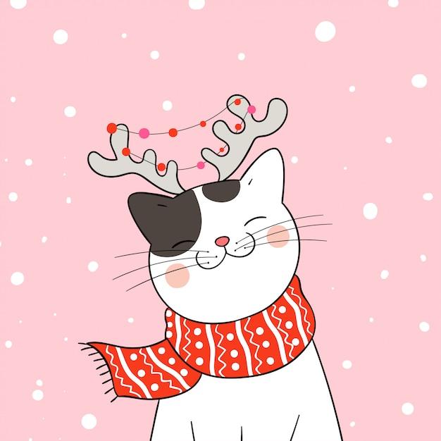 Desenhe gato com lenço vermelho na neve para o natal e ano novo. Vetor Premium