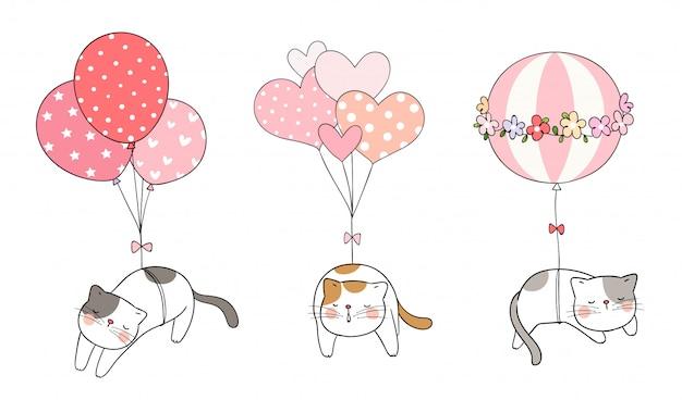 Desenhe gato dormindo com doce balão Vetor Premium