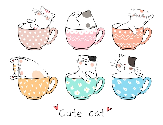 Desenhe gato fofo dormindo na xícara de chá Vetor Premium