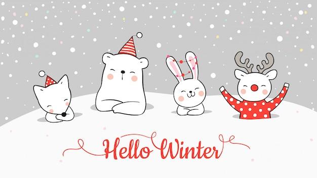 Desenhe o banner do animal bonito na neve para o natal e ano novo. Vetor Premium