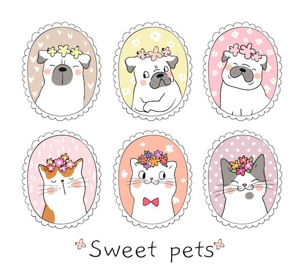 Desenhe o gato bonito e cão pug com no quadro vintage Vetor Premium