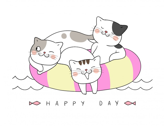 Desenhe o gato dormindo no anel de natação no horário de verão. Vetor Premium