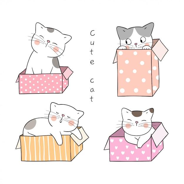 Desenhe o gato na caixa doce isolada no branco. Vetor Premium