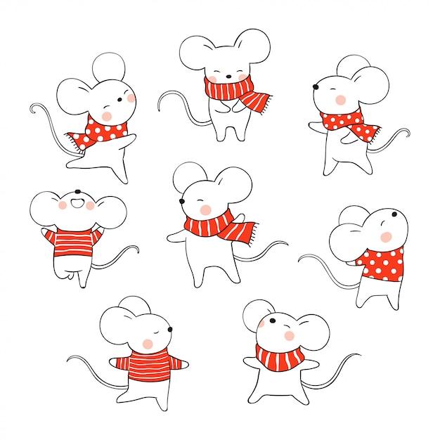 Desenhe o rato para o dia de natal e ano novo. Vetor Premium