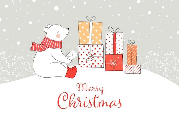 Desenhe o urso com a caixa de presente na neve pelo natal e o ano novo. Vetor Premium