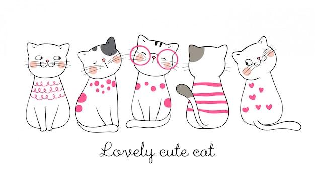 Desenhe pastel rosa gato engraçado. Vetor Premium