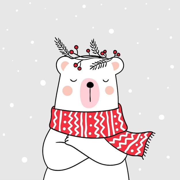 Desenhe urso branco com suéter de beleza na neve para a temporada de inverno Vetor Premium
