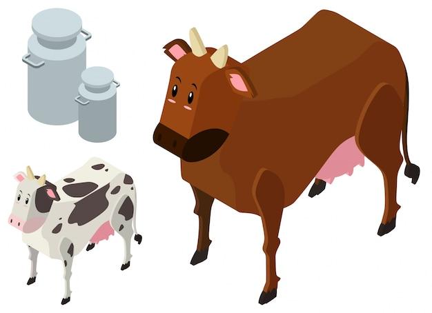 Desenho 3d para duas vacas e tanques de leite Vetor grátis