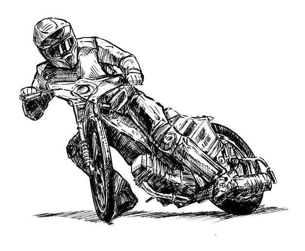 Desenho à mão de corridas de motocross Vetor Premium