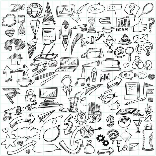 Desenho à mão, ideia de negócio, desenho, esboço Vetor grátis