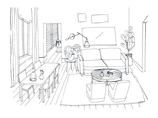 Desenho à mão livre de sala de estar com janela, sofá confortável, mesa de jantar, cadeiras e outros móveis desenhados à mão com linhas. desenho de uma casa moderna decorada em estilo aconchegante. ilustração. Vetor Premium