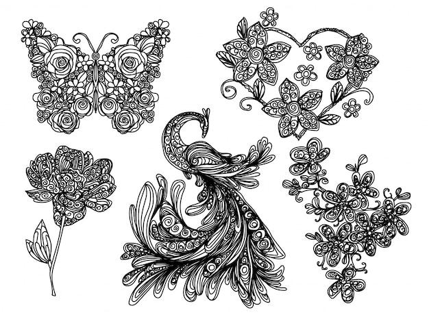 Desenho à mão livre e desenho borboleta e flor natureza preto e branco Vetor Premium