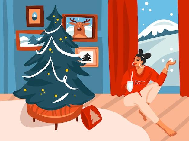 Desenho abstrato de estoque plano feliz natal Vetor Premium