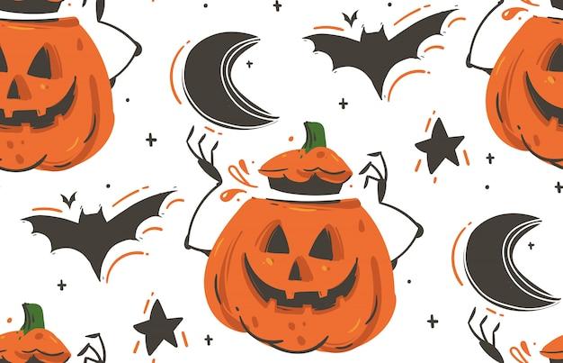 Desenho abstrato de mão desenhada feliz halloween ilustrações padrão sem emenda com morcegos, abóboras, lua e estrelas em fundo branco. Vetor Premium