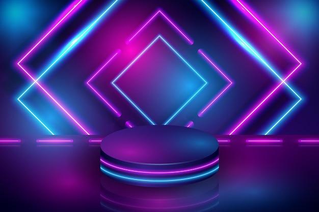 Desenho abstrato de quadrados de néon Vetor Premium