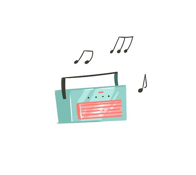 Desenho abstrato desenhado à mão para ilustrações gráficas de verão com gravador de música em fundo branco Vetor Premium