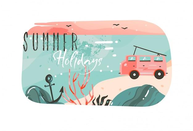 Desenho abstrato dos desenhos animados, horário de verão, ilustrações gráficas da arte do fundo do banner com a paisagem da praia do oceano, vista do pôr do sol rosa, carro van campista e citação de tipografia das férias de verão Vetor Premium