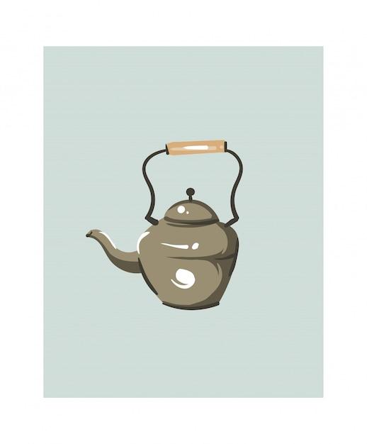 Desenho abstrato moderno desenho animado cozinhar ícone divertido ilustrações com grande bule vintage isolado no fundo branco. Vetor Premium