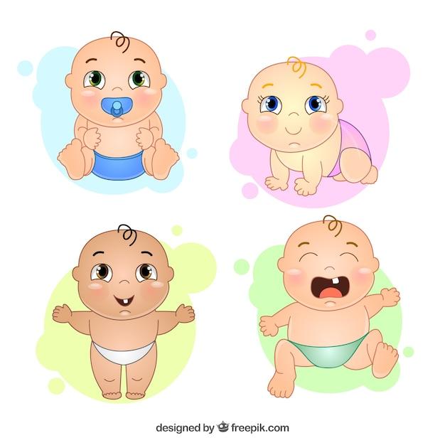 desenho agradvel do beb com gestos diferentes vetor grtis