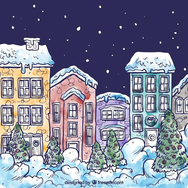 Desenho aldeia de neve Vetor grátis