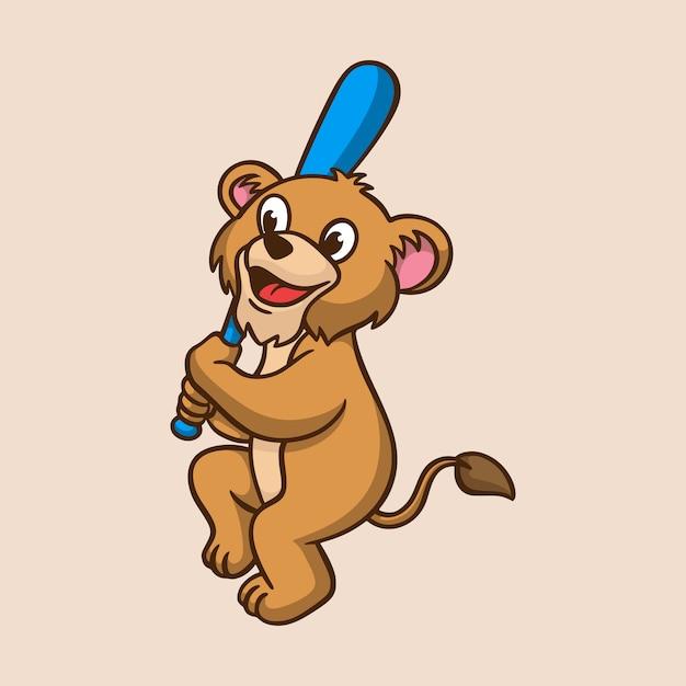 Desenho animado animal infantil leão jogando beisebol bonito mascote logo Vetor Premium