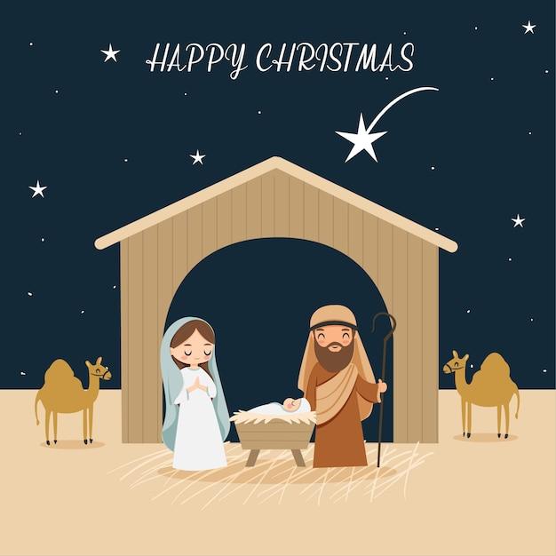 Desenho animado bonito apresenta o nascimento de cristo ou nascimento de jesus que é descrito na bíblia Vetor Premium