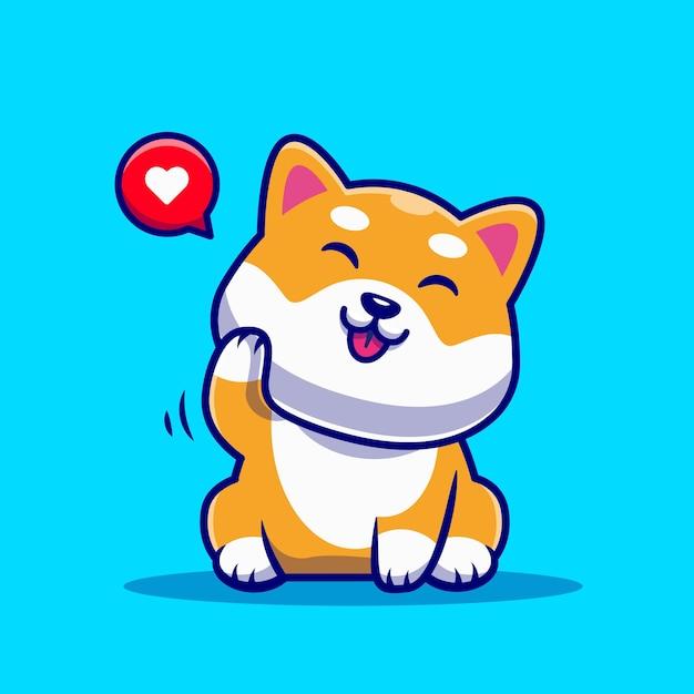 Desenho animado bonito do cão shiba inu a acenar com a mão Vetor grátis
